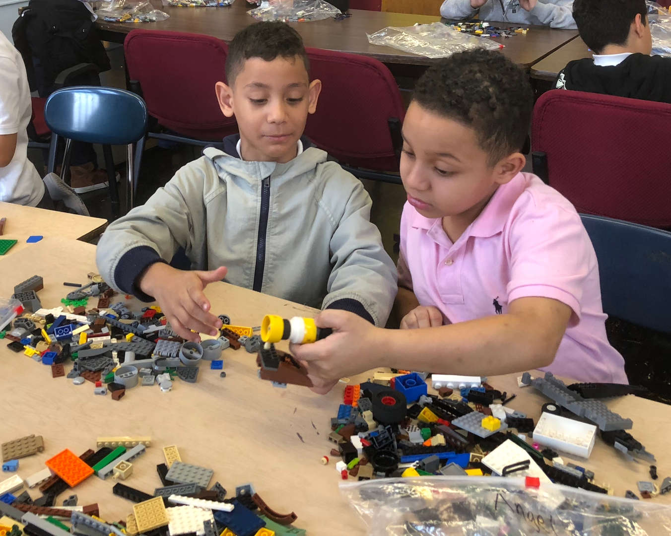 Members of the LEGO club building