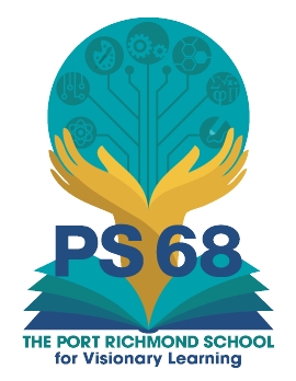 P.S. 68 Logo: Hands holding icons of academia, coming out of an open book.