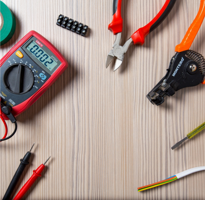 Electrical tools scattered on a table
