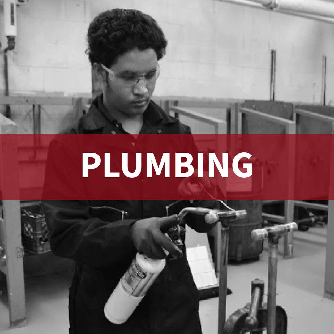 Plumbing: student with goggles on