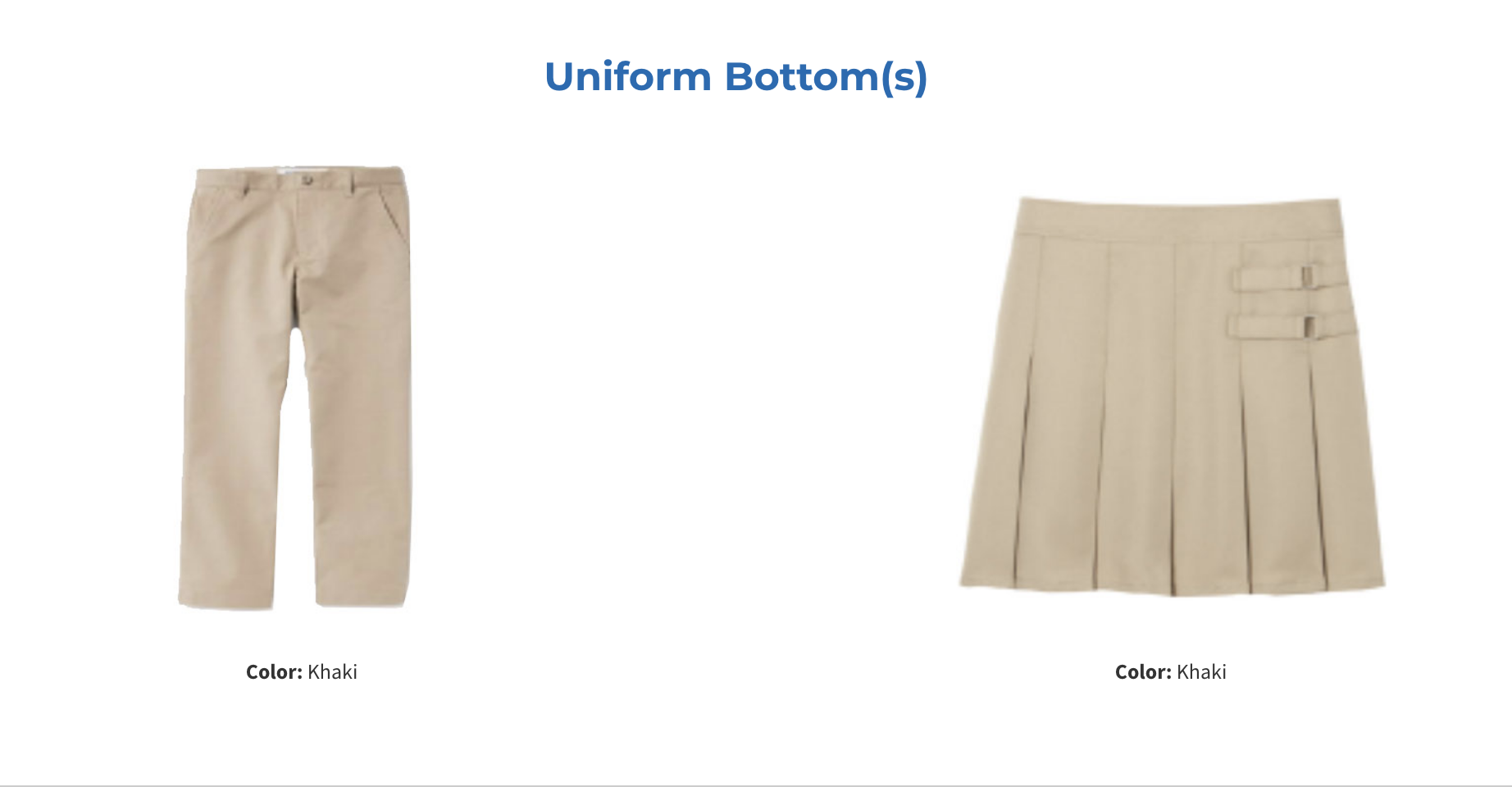 tan pants and skirt