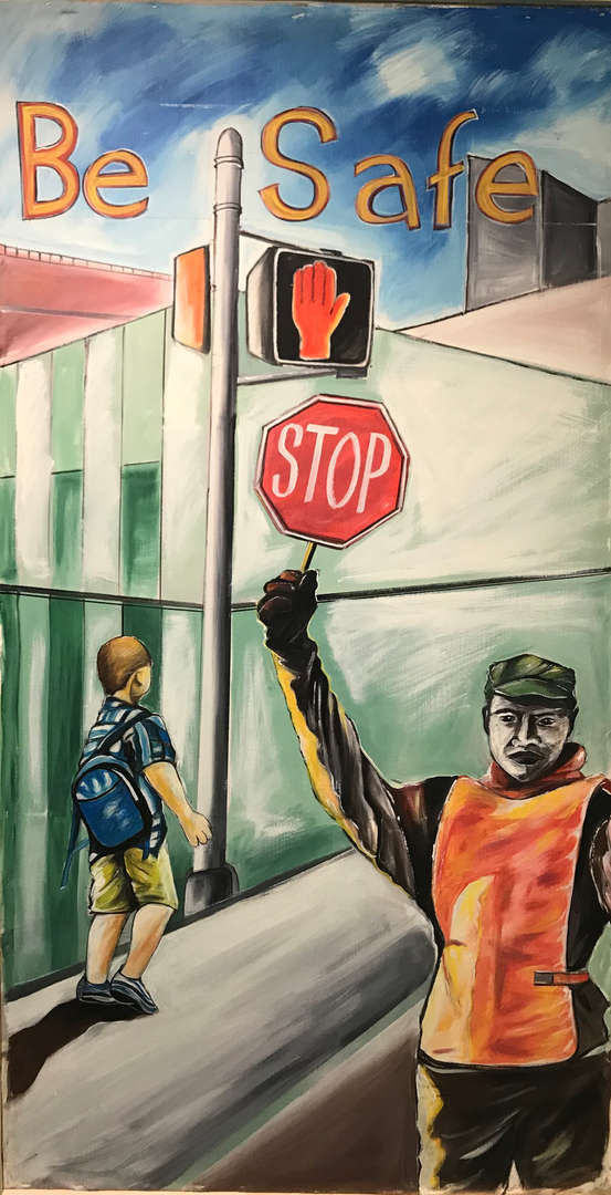 man with stop sign