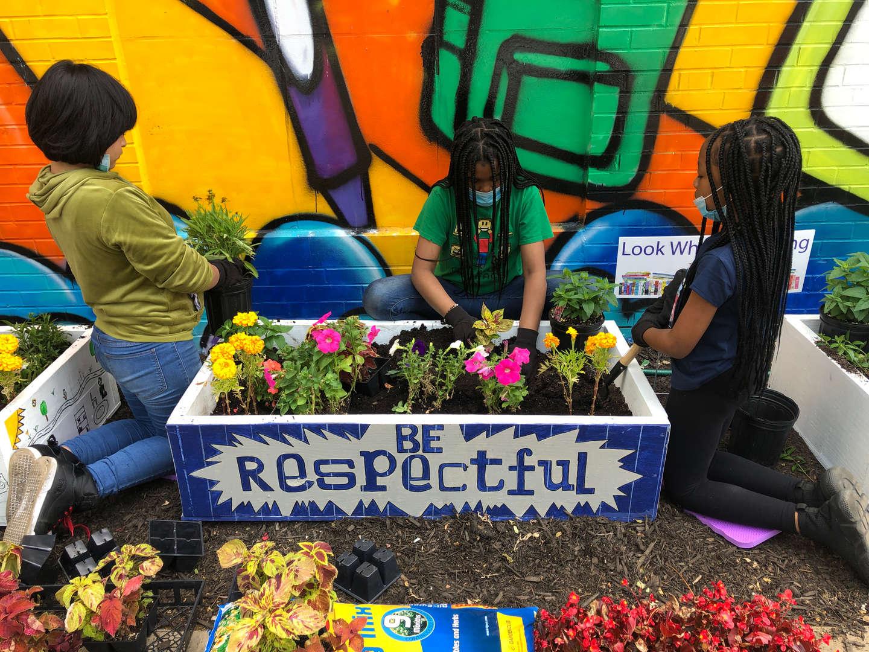 three students planting flowers