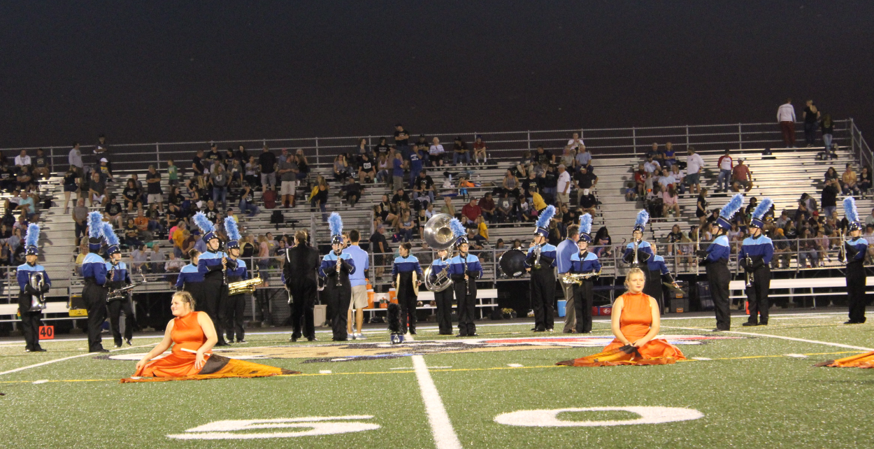 High school band performing at half time.