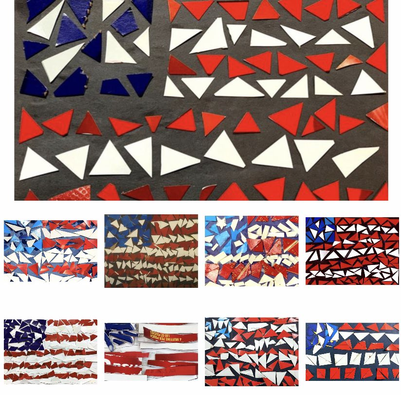 American flags made out of cardboard created by students