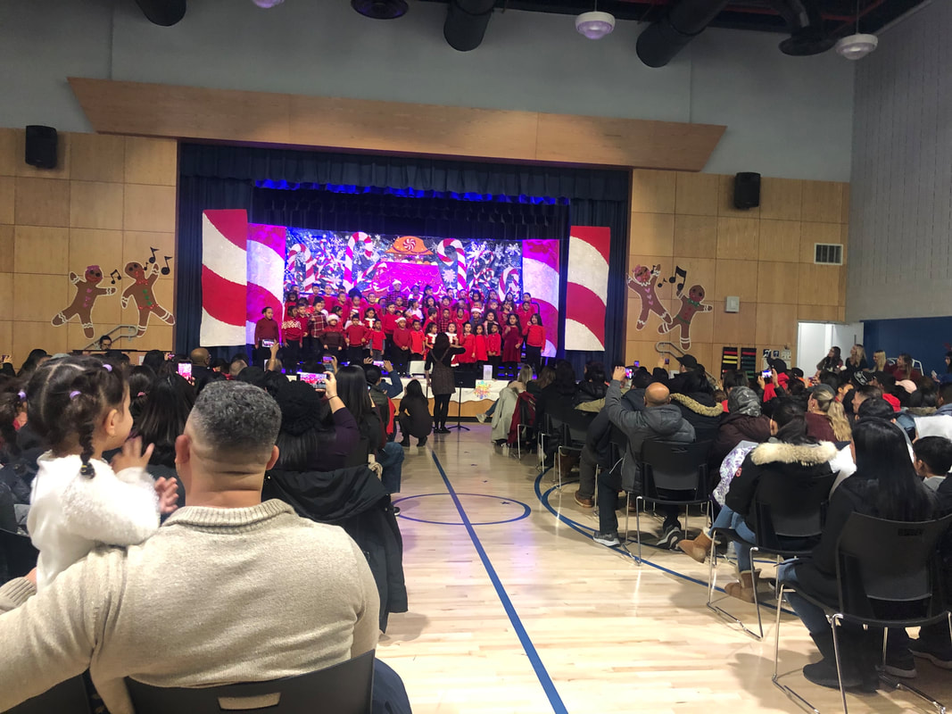 Holiday concert on stage in the gymnasium
