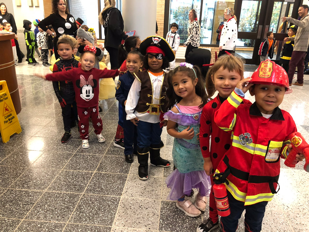 Students dressed up for the character parade