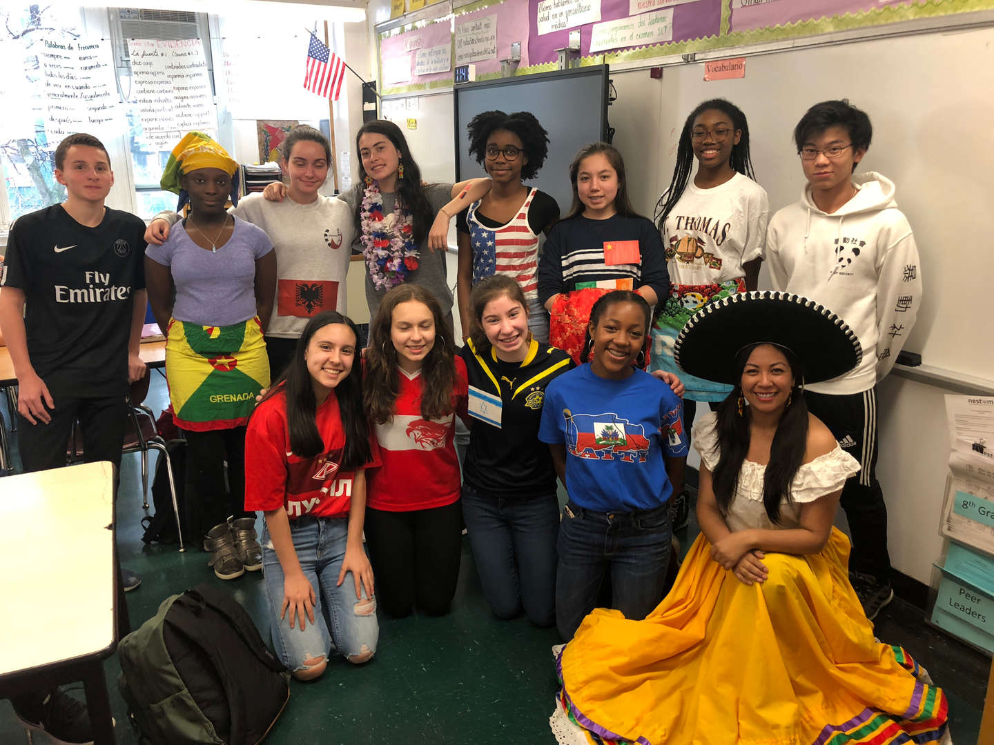 Upper grade students dressed up for multicultural day