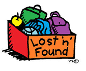 "Backpacks and belongings inside a box labeled ""Lost 'n' Found"""