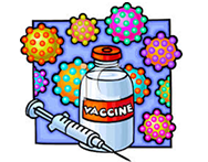 Vaccine and cells in background