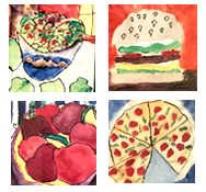 Student art of a salad, burger, fruit, and pizza