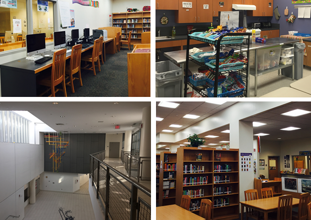 Four pictures: the computer lab, a classroom, the halls, the library
