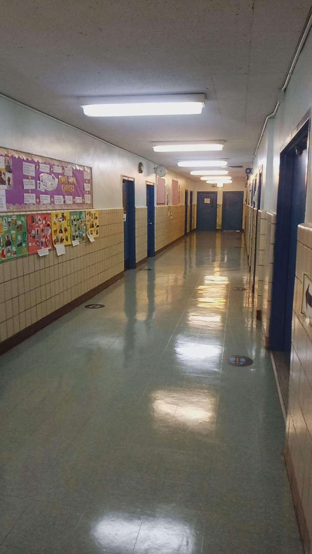 hallway with floor markings