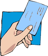 Hand holding emergency blue card