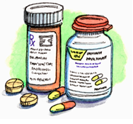Drawing of medicine and pills