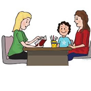 Women reading to child