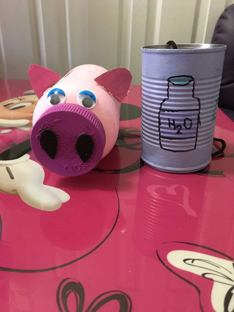 Pig made out of can and a can with the sign H2O