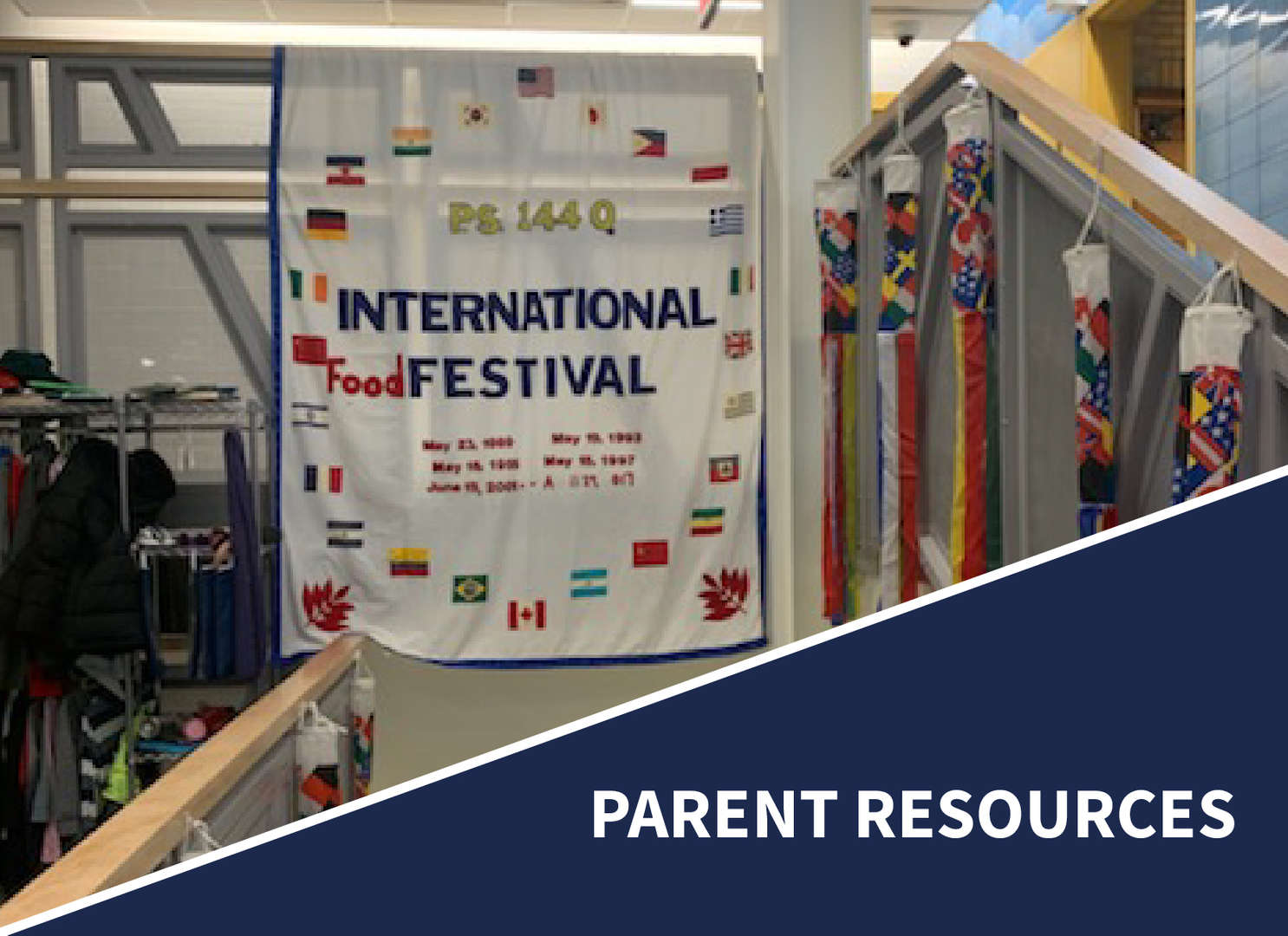 Banner with international flags