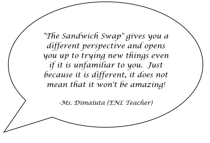 A speech bubble with a quote from a teacher named Ms. Dimiuata