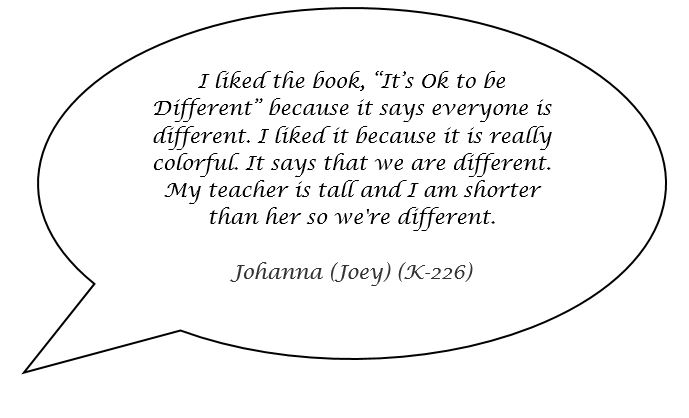 Speech bubble with a quote from a student named Johanna