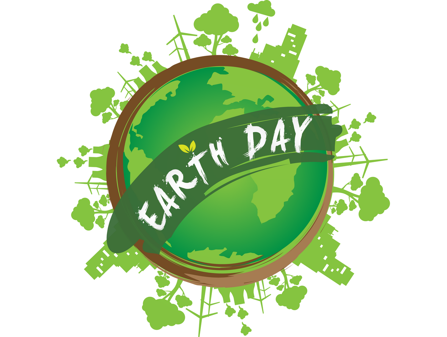 A green globe that says Earth Day.