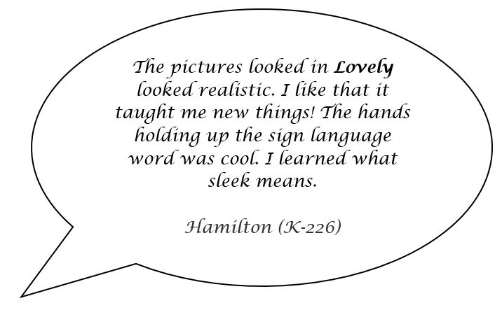 Speech bubble with a quote from a student named Hamilton