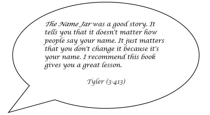 Speech bubble with a quote from a student named Tyler