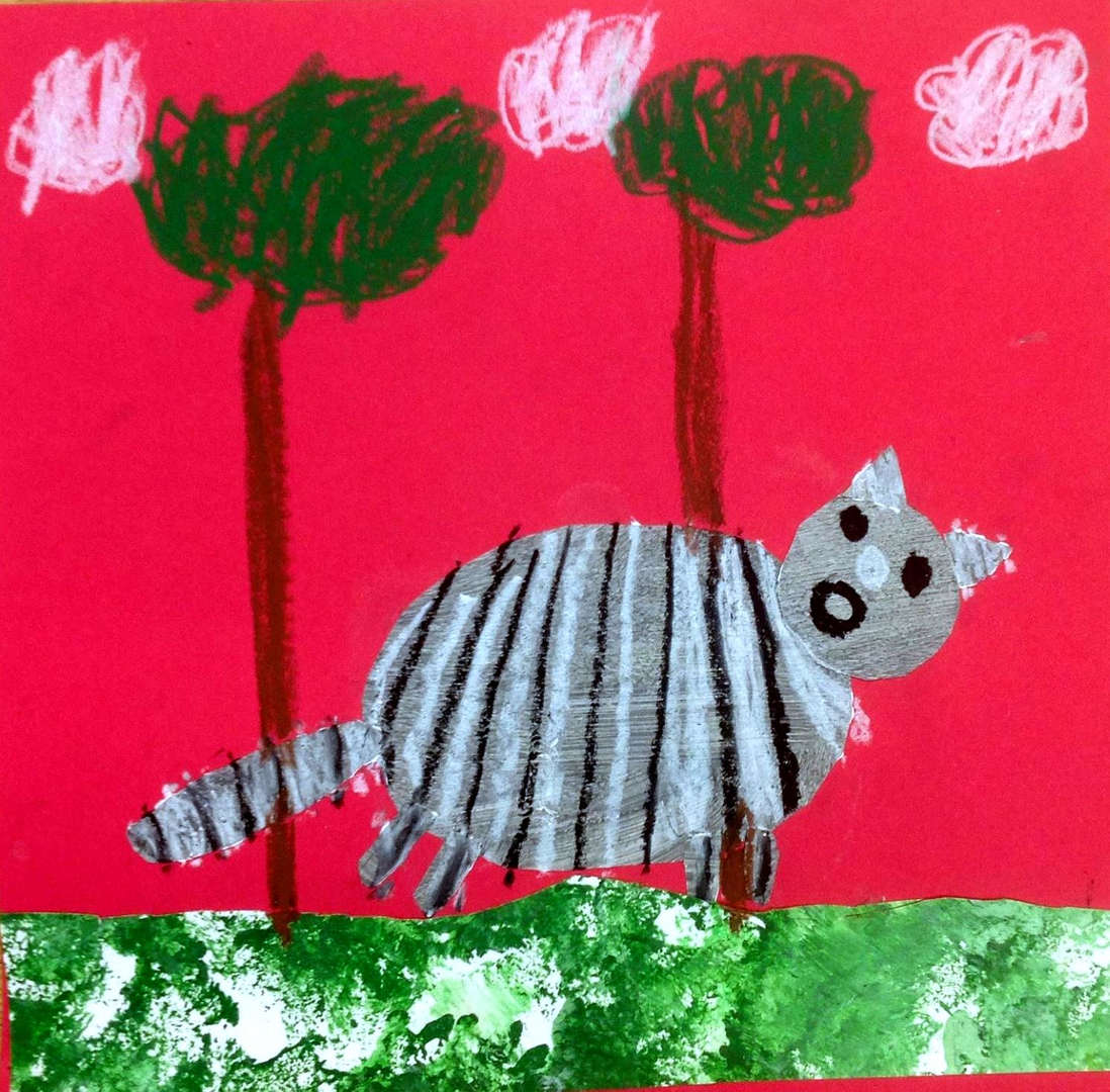 Student raccoon drawing