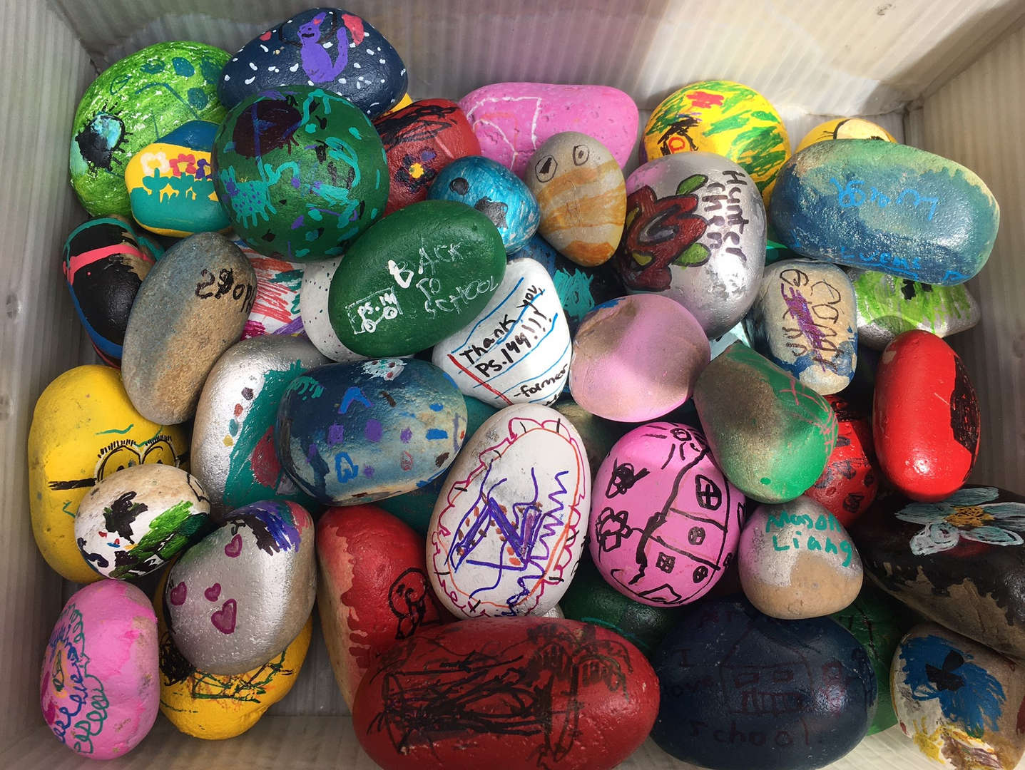 Rocks that are painted.