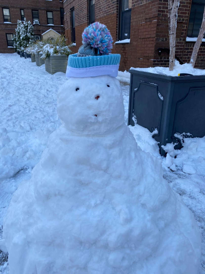 a big snowman with a blue hat