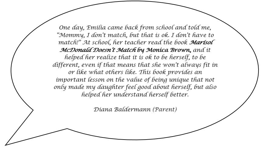 Speech bubble with a quote from a parent about a book