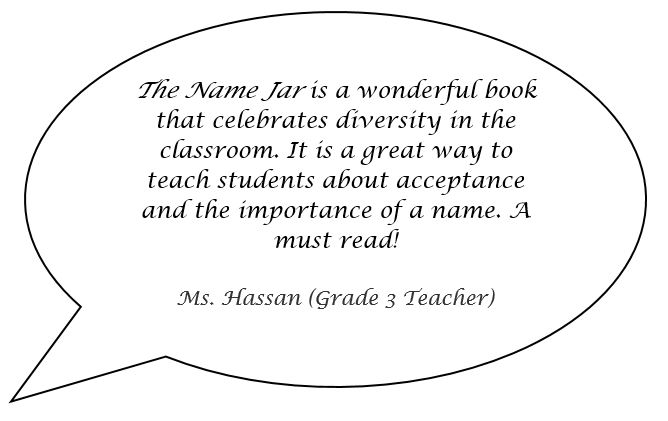Speech bubble with a quote from a teacher Ms Hassan