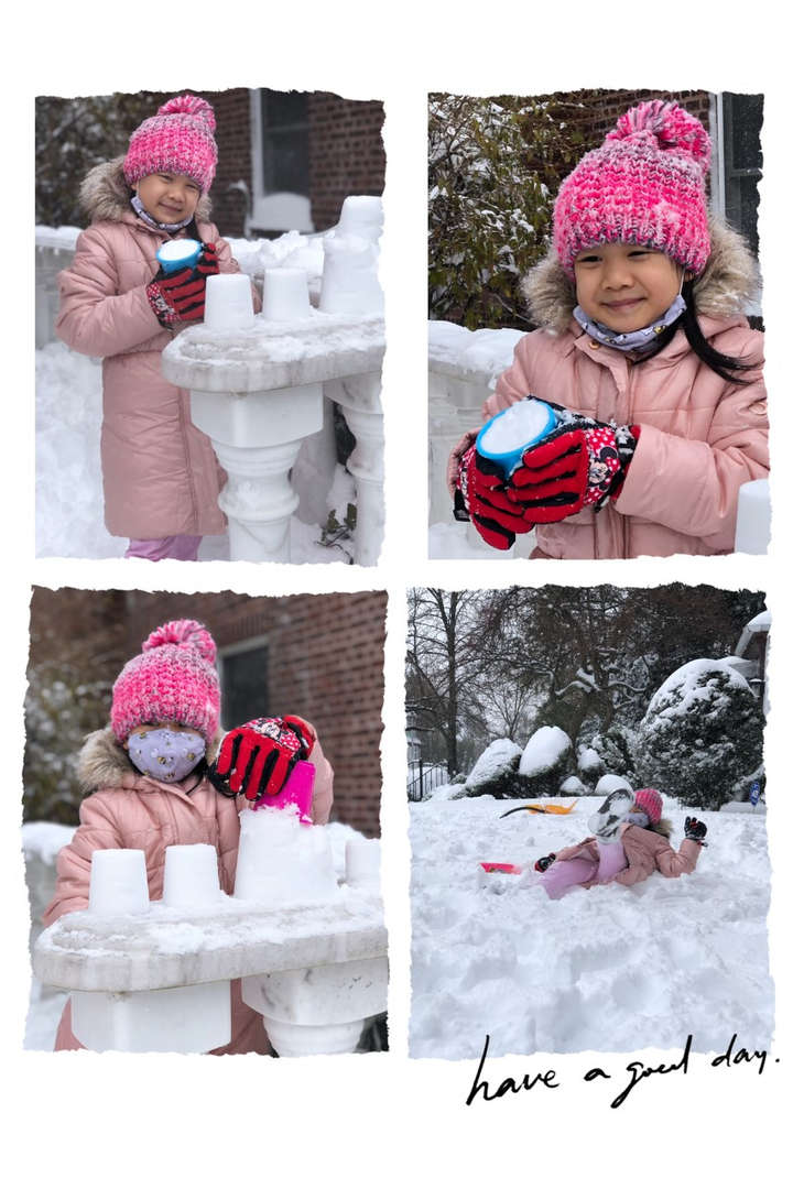 a collage of a girl in pink playing the snow