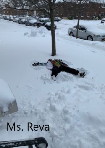 Ms reva making a snow angel