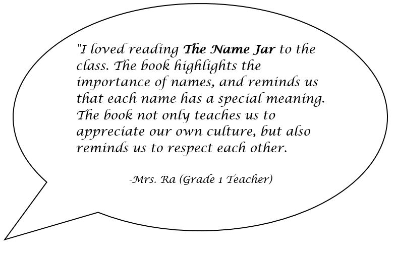 Speech bubble with a quote from a teacher