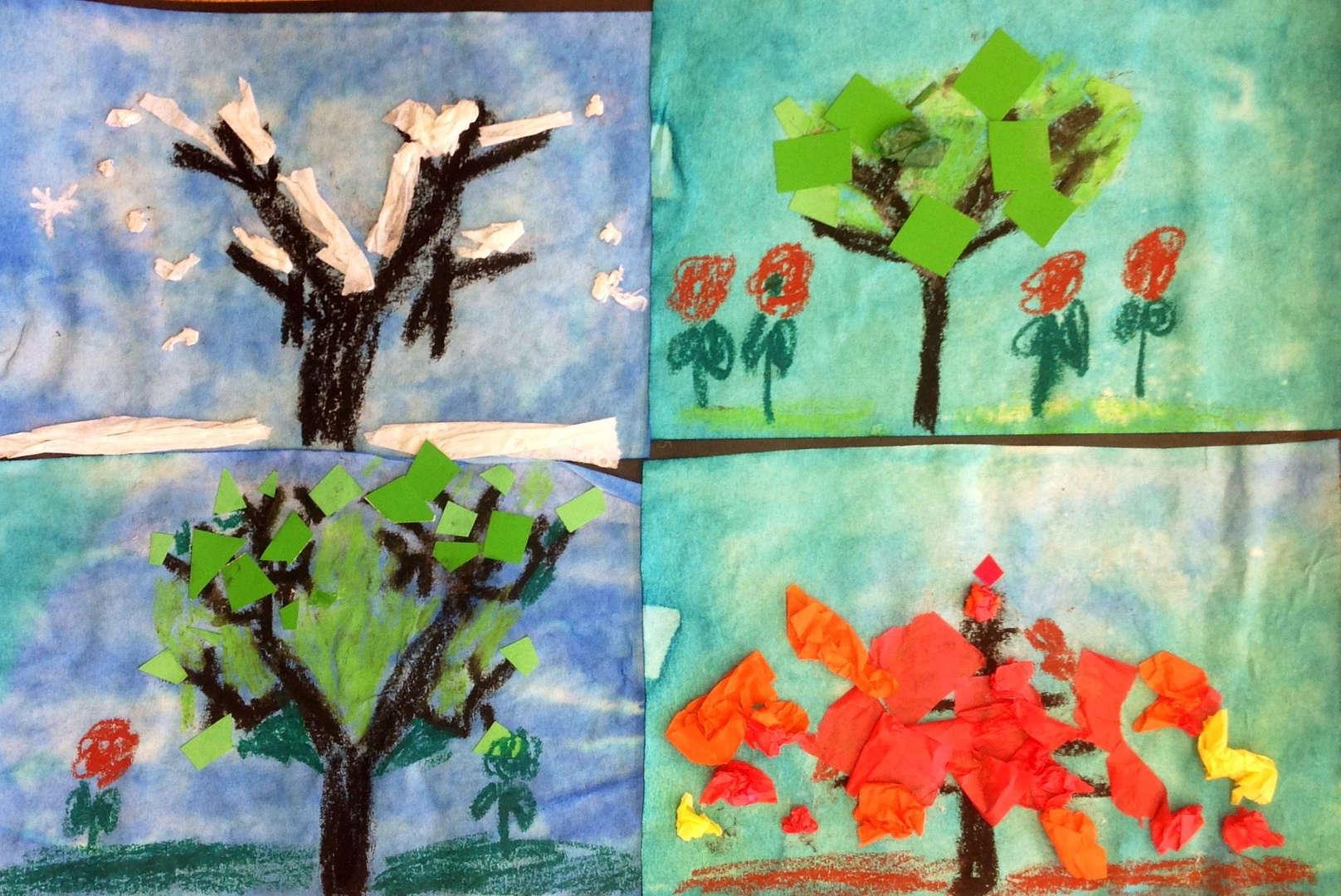 Geometric seasonal tree artwork