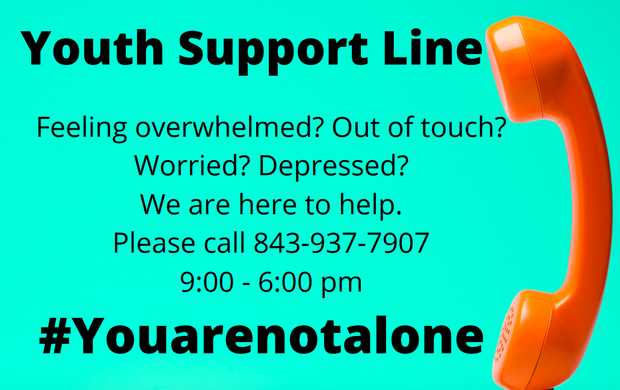 Youth Support Line 843-937-7907 9am - 6pm