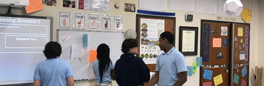 Students collaborating in classroom