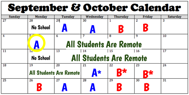 October Calendar for remote learning and Cohort A/B days