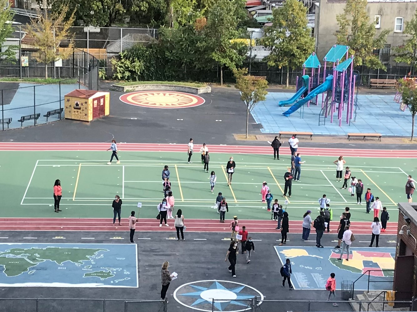 Aerial View of schoolyard