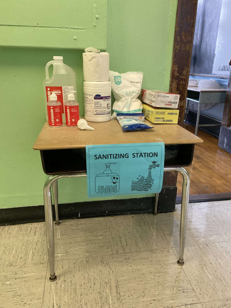 Table with Safety Supplies