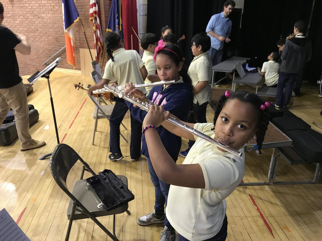 Student playing the flute
