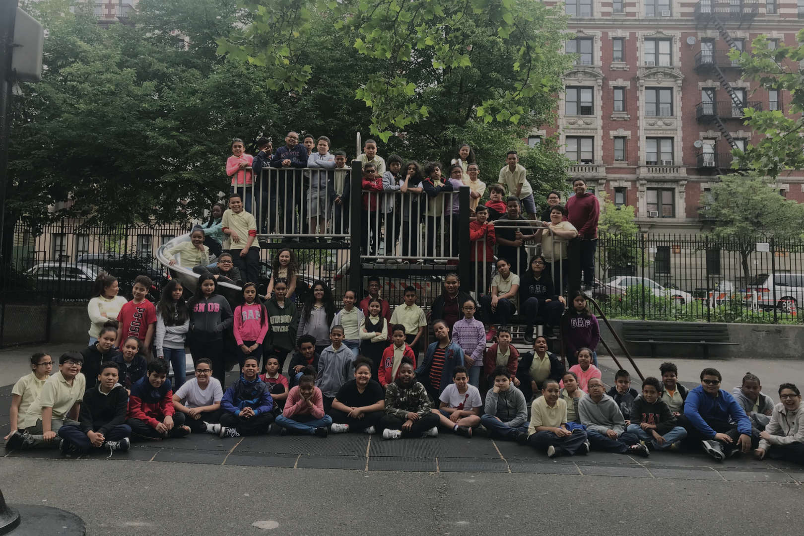 Students gathered on playground