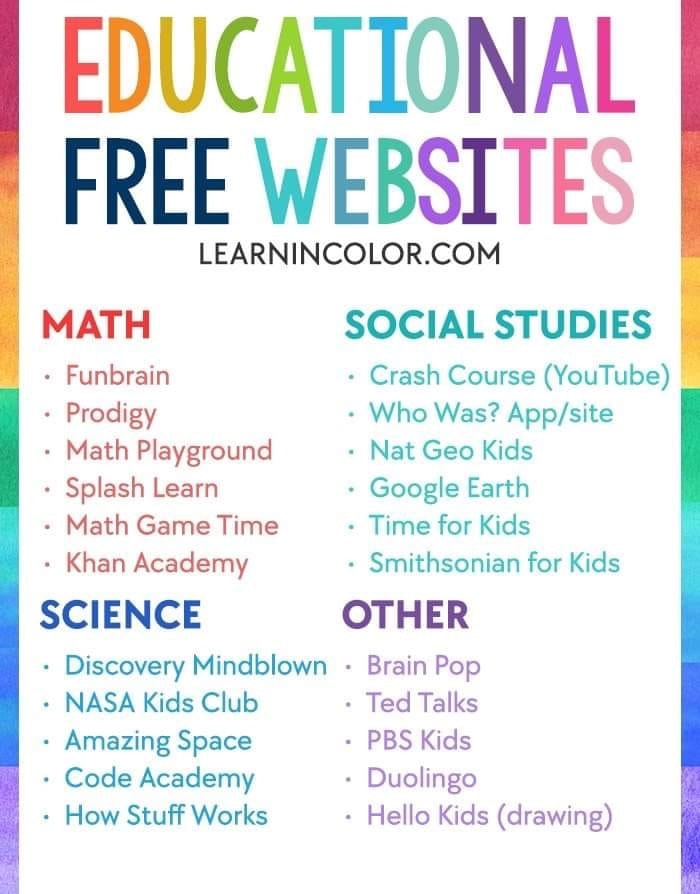 Free Educational Websites from LearnInColor.com