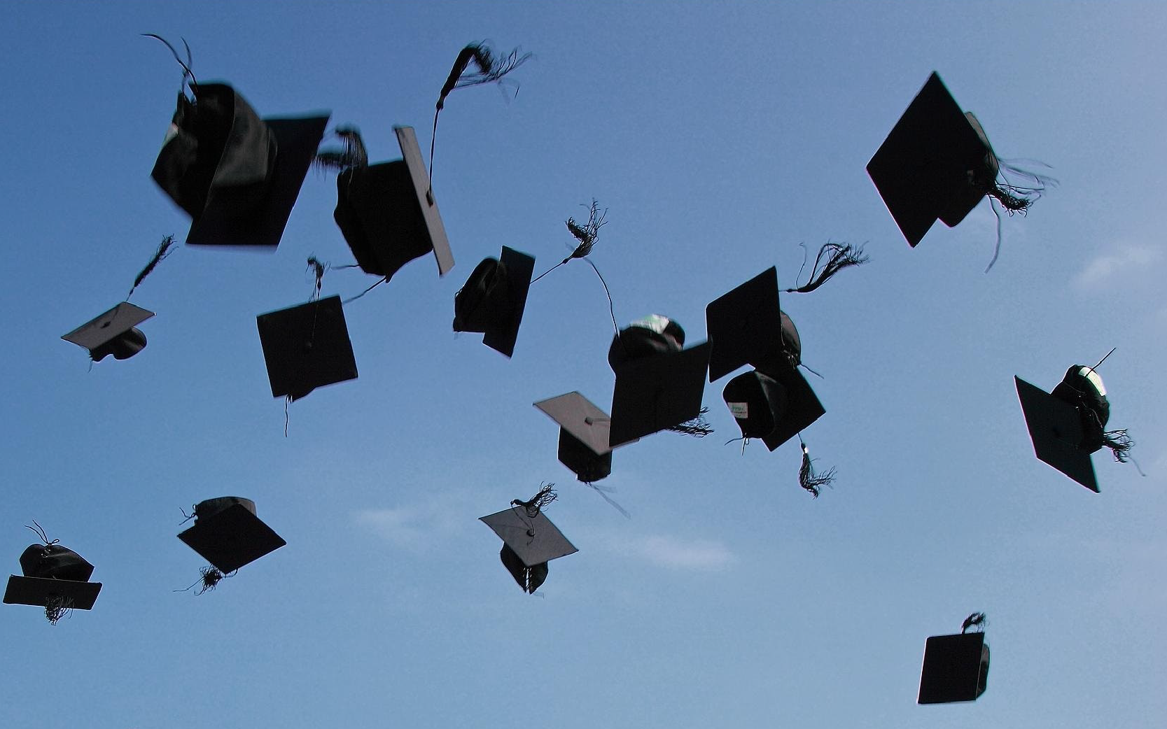 Seniors: Graduation caps in the air