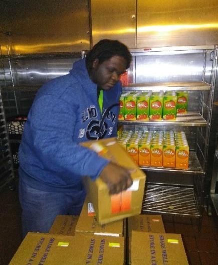 Stocking the fridge at Schervier