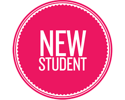 New Student written in pink circle