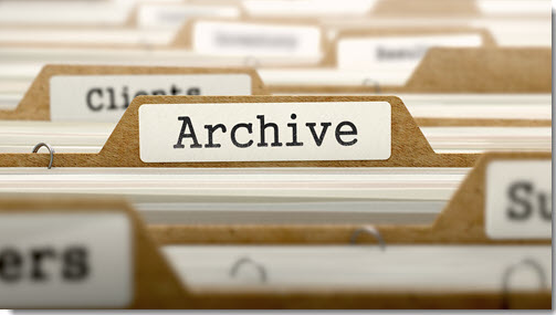files with the word ARCHIVE typed on the file in the center