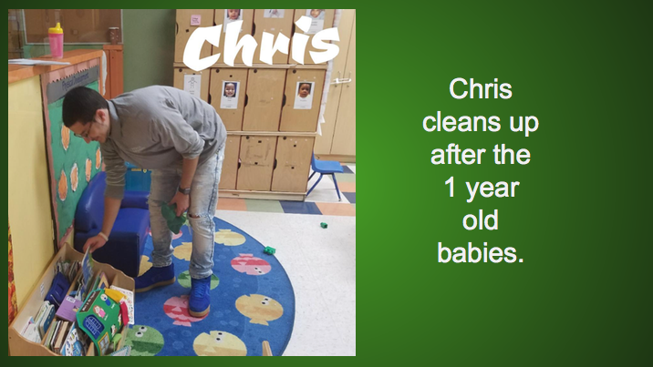Chris cleans up after the 1 year old babies