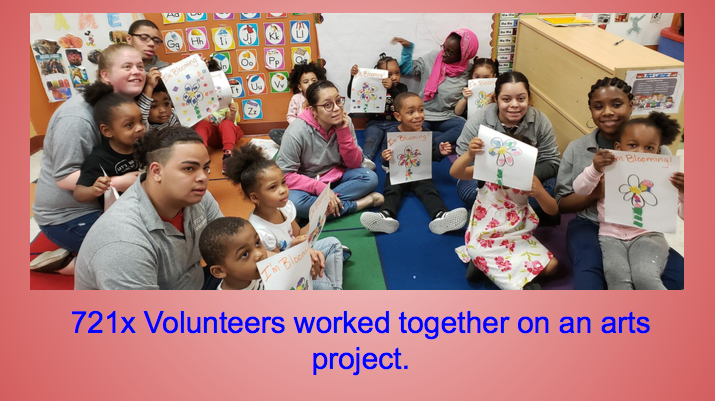 721X volunteers worked together on an arts project
